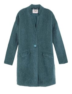 Knit Coat in napped mohair-blend jersey. Slight egg-shaped silhouette. Loose fit. Stand-up collar. Fastened by means of a single button. Long sleeves set into armholes low on the shoulder. Pockets with flaps. Small chain for hanging. Above-the-knee length. Lined in stretch twill. - Free Shipping and Returns!