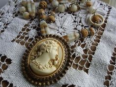 Antique Cameo Brooch Necklace Assemblage