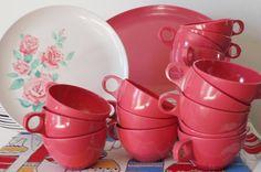 Vintage Melamine Service for 16 Vintage Stetson Melamine Dinnerware Set w/Platters Retro Coral color  Vintage Tableware