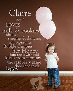 Think I've pinned this before but just in case.Each year, take a picture of your child against a blank wall and then use photoshop elements to list their favorite things at the time! Love this idea! Baby Kind, Baby Love, Lila Baby, Do It Yourself Baby, Foto Fun, Photos Originales, For Elise, My Bebe, Foto Baby