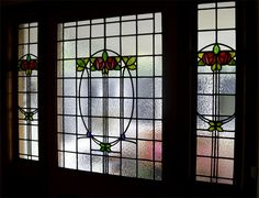 https://flic.kr/p/Dv1iJP   Stained glass Paisley Potterhill   Stained glass window and sidelights (1920-1930's) from Glasgow Architectural Salvage resized for new door entrance, repaired using The Paul Wissmach Glass Co. English Muffle glass (slightly heavier/more defined texture in this glass than the 1930's original, but works well). www.rdwglass.com