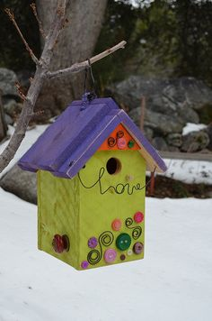 Birdhouse Handmade Vintage Button Accents by BirdhousesByMichele