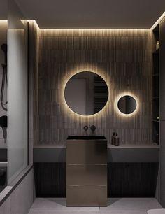 2 Modern Interiors With Rich Blue Decor Ideas – Bathroom Inspiration Bad Inspiration, Bathroom Inspiration, Modern Bathroom Design, Bathroom Interior Design, Washroom Design, Interior Ideas, Shower Cubicles, New Toilet, Small Bathroom