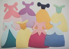 Paper dress templates for popular Disney Princess characters