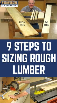 These step-by-step instructions will teach you how to size any rough lumber you have and make it useable for your next woodworking project. Learn Woodworking, Easy Woodworking Projects, Popular Woodworking, Woodworking Bench, Woodworking Workshop, Woodworking Techniques, Wood Projects For Beginners, Wood Working For Beginners, Rough Cut Lumber