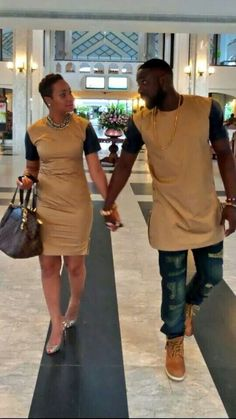 i hate matching but i love this tan i would'nt mind African Inspired Fashion, Latest African Fashion Dresses, African Print Dresses, African Print Fashion, African Dress, Couples African Outfits, African Attire, African Wear, African Women