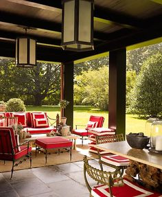 great size covered space.  Exactly what I want, little seating area, and dining table.  No red, but like furniture arrangemetn, andd amount of space...S.R. Gambrel - Southampton