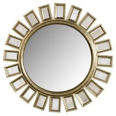 Beveled wall mirror in silver leaf with a sunburst silhouette.Product: Wall mirror    Construction Material: Wood and ... - I like this mirror... But likely the wall is very large and need something larger... but just letting you know that I don't only like dark wood :)