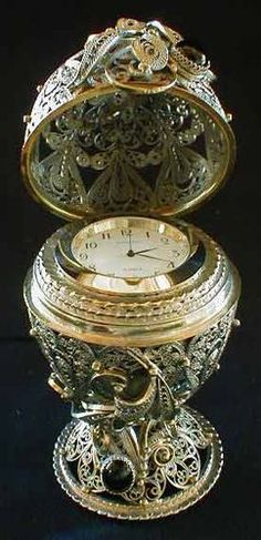 Faberge Style Egg with Clock: