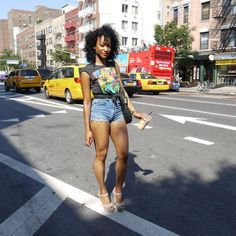 Summertime outfit fashion, cloth, black hair, natur, legs, fyeah curl, summertime outfits, curl curl, t shirts