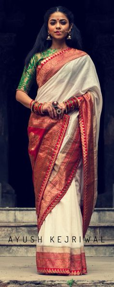 The uniqueness of the Indian wedding sarees: Exclusive silks of plaster and . - The uniqueness of the Indian wedding sarees: Exclusive silks by Putz and Dazzle - India Fashion, Ethnic Fashion, Asian Fashion, Traditional Sarees, Traditional Dresses, Indian Attire, Indian Wear, Indian Dresses, Indian Outfits