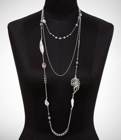 THREE-ROW LONG LEAF NECKLACE at Express.  Lets skip the clothes and pile on some serious jewelry instead.