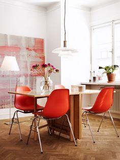 herringbone floor + orange chairs | photo j. ingerstedt