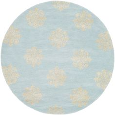 @Overstock - With an almost cloud-like appearance, this blue handmade wool rug is soft and light colored. With a white geometric pattern, the rug is sure to last for many years to come. This rug also has a beautiful round style for the center of your room.http://www.overstock.com/Home-Garden/Handmade-Soho-Medallion-Light-Blue-Wool-Rug-4-Round/7280574/product.html?CID=214117 $93.99