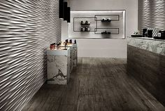 Creative wall design with ceramic tiles by Atlas Concorde - Home Decoration 3d Wall Tiles, Decorative Wall Tiles, Concorde, Tile Design, Wood Design, Silver Fir, Interior Decorating, Interior Design, Wall Cladding