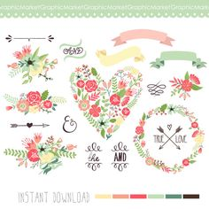 Wedding Floral clipart, Digital Wreath, Floral Frames, Flowers, Arrows Clip art scrapbooking, wedding invitations, Ribbons, Banners, Heart
