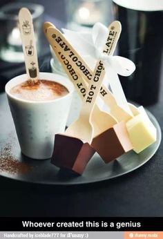 Hot chocolate- chocolate on stick you stir into hot milk