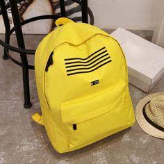 Women Men Stylish Candy Color Casual Canvas School Bag Shoulder Bag Backpack