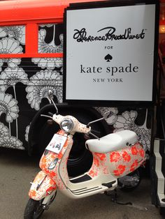 Florence Broadhurst designs featured on a vespa and pop up bus for Kate Spades new collection. This was such a creative and unique way to get their collaborative new range out in the public eye.