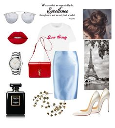 """""""Blue & red"""" by alinakraynya ❤ liked on Polyvore featuring Christian Louboutin, Ganni, Martha Medeiros, Yves Saint Laurent, Christian Dior, Gucci, Chanel and Lime Crime"""