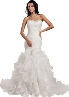 GEORGE BRIDE Formal Strapless Organza Court Train Wedding Dress Size 12 White ** Continue to the product at the image link.