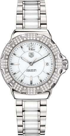 TAG Heuer Watch Formula 1 #add-content #bezel-diamond #bracelet-strap-steel #brand-tag-heuer #case-material-steel #case-width-37mm #date-yes #delivery-timescale-4-7-days #dial-colour-white #gender-ladies #luxury #movement-quartz-battery #official-stockist-for-tag-heuer-watches #packaging-tag-heuer-watch-packaging #style-dress #subcat-formula-1 #supplier-model-no-wah1218-ba0861 #warranty-tag-heuer-official-2-year-guarantee #water-resistant-200m