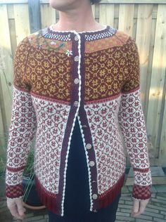 Very pleased with the result. Knit body and yoke in size L. Frogged the sleeve it was to small. Knit it in size XL. Now it is perfect! Love the crocheted boble band and the embroidering I use...