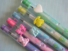 "80s Vintage Kawaii Bensia Badge-a-mascot Pencils. Totally had some like that - and I also had a plastic phone ""compact"" in teal that I keep in a Hello Kitty tin with other key chains and other knick knacks from my childhood."