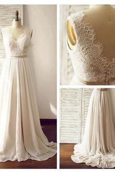Lace Backless Beach Wedding Dresses, 2017 Chiffon Long Custom Wedding Gowns, Affordable Bridal Dresses, 17097