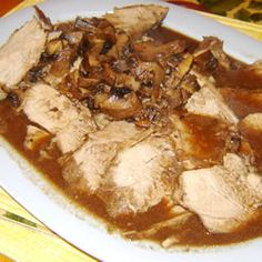 """""""This will melt in your mouth! This pork tenderloin soaks up the yummy juices as it cooks. Make sure to serve up the au jus on the side - its amazing! This recipe is so simple, you will love it!"""""""