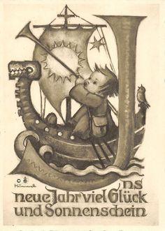 "vintage unused greeting cards 1930 ARS SACRA  B.I.Hummel ""happy new year""791"""