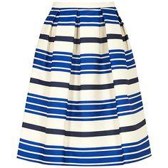 PAUL & JOE SISTER Croisette Skirt (16.610 RUB) ❤ liked on Polyvore featuring skirts, bleu, patterned skirt, print skirt, horizontal striped skirt, white knee length skirt and nautical skirt