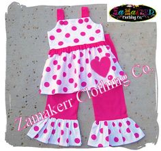Girl Valentines Day Set - Pink Polka Dot Pant Outfit Set - Custom Boutique Girl Clothes 3 6 9 12 18 24 month size 2T 2 3T 3 4T 4 5T 5 6 7 8 on Etsy, $48.99