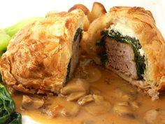 Thibeault's Table: Pork Wellington with Mushroom Sauce Pork Lion Chops Recipes, Meat And Potatoes Recipes, Pork Tenderloin Recipes, Pork Loin, Pork Ribs, Pork Recipes, Pork Tenderloins, Cat Recipes, Yummy Recipes