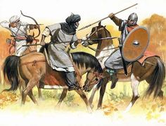 Berber and Arab clash with Frank between Tours and Poitiers, AD 732 Historical Art, Historical Pictures, Military Art, Military History, Battle Of Tours, Carolingian, Early Middle Ages, 11th Century, Dark Ages