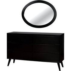 furniture of america farrah midcentury dresser with oval mirror multiple colors black