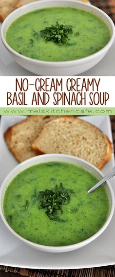 This No-Cream Creamy Basil Spinach Soup tastes so delicious you won't even miss the heavy cream, or the calories!