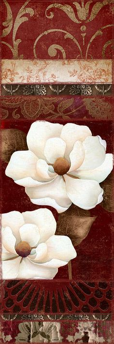 Magnolia Painting - Flores Blancas Rectangle II by Mindy Sommers