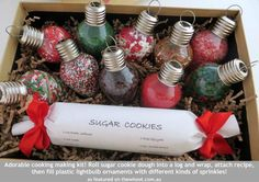 Cute gift idea - cookies with ornaments full of sprinkles