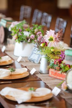 lovely flowers on a super cute table