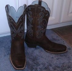 My new Ariat cowgirl boots I got for Christmas. I <3 them and they are soooo comfortable!!
