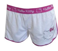 Hello Kitty Sweet and Simple White Baby Terry Sleep Shorts, $14 Looking for sleep shorts that are soft, cute and match anything? Look no further! These sleep shorts for women feature a silver embroidered Hello Kitty head for a simple look that coordinates with so many HK tops, with an exposed elastic waist and hot pink binding. The sleep shorts are 80% cotton, 20% polyester baby fine Terry. Junior Cut.