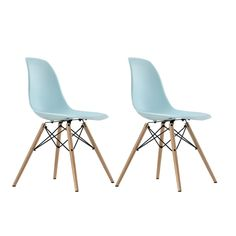 $121 for 2 - DHP Blue Eames Replica Molded Chair with Wood Leg, Set of 2 | 17.5 high x18x16 deep; Overstock.com Shopping - The Best Deals on Dining Chairs