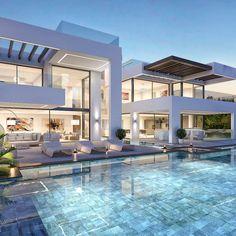 Modern Villa Design, Contemporary Design, Luxury Homes Dream Houses, Dream Homes, Modern Mansion, Modern Architecture House, Classical Architecture, Dream House Exterior, Dream Home Design