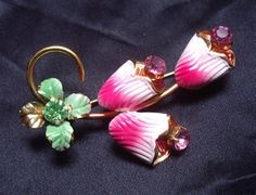 Vintage 1940's Bright PINK and Green Enamel by ShaLaLaVintage