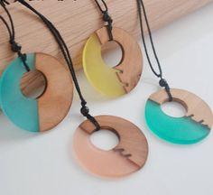 Wood Resin Pendant Hippie JewelryNature jewellery Bohemian