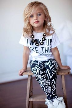 Baby Girls kids Stripe summer clothes set I Woke Up Like This Toddler shirt Pants suits children's clothing sets, Ropa de niña, Little Girl Fashion, Toddler Fashion, Kids Fashion, Fashion 2016, Fashion Wear, Dress Fashion, Fashion Clothes, Style Fashion, Fashion Dolls