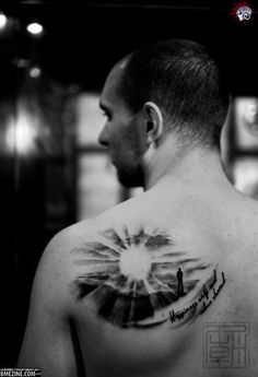 """Cool sunrise tattoo says """"Happiness only real when shared"""" (Krakauer - Into the Wild).  I would get:  """"Even the darkest night will end and the sun will rise"""" Les Mis"""