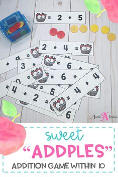 These Apple Addition Number Sentence Strips are the perfect math center for your kindergarten and first grade students. This low-prep printable activity will help your students practice their addition facts within 10 with result unknown.