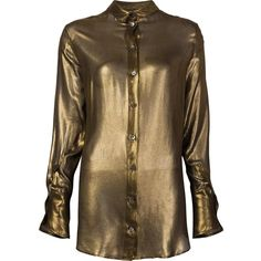 Ann Demeulemeester metallic shirt ($875) ❤ liked on Polyvore featuring tops, grey, shirt tops, print top, ann demeulemeester, grey top and pattern shirt